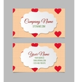 Visiting card with hand drawn hearts vector image