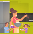 happy smiling mom with children in kitchen vector image