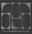 calligraphic corners and frames on chalkboard vector image