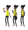 Young Afro american school girl vector image