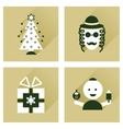 Concept of flat icons with long shadow Hanukkah vector image