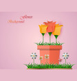colorful paper flowers in a flowerpot on a pink vector image