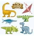 Dinosaur and prehistoric animals flat icons set vector image