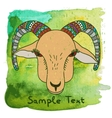 Hand drawn goat on watercolor background vector image