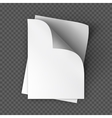 Paper sheets mockup on transparent background vector image
