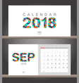 september 2018 calendar desk calendar modern vector image