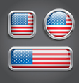 USA flag glass buttons vector image