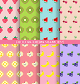 Sweet fruit seamless pattern set vector image