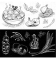 Set of chalk drawn on a blackboard food spices vector image