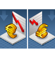 isometric symbol of euro with red arrow down vector image vector image