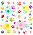 colored pattern with paw prints and blots vector image