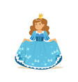 beautifull little girl princess in a blue ball vector image vector image
