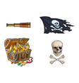 cartoon pirates symbols set isolated vector image vector image