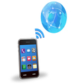 smart phone with wireless vector image
