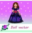 Doll Princess in blue evening dress with flower vector image