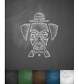 hipster dog icon Hand drawn vector image