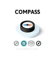 Compass icon in different style vector image