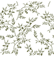 Seamless olive branch pattern hand drawn vector image