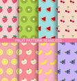 Sweet fruit seamless pattern set vector image