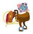 wild west saddle gloves rope and a horseshoe vector image