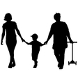 Black silhouette of mother grandmother and vector image