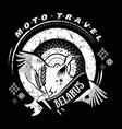 moto travel emblembird stork wheel national vector image