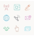Handshake contacts and gps satellite icons vector image