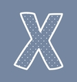 X alphabet letter with white polka dots on blue vector image