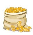 Bag full of golden coin vector image
