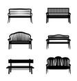 bench sign set garden benches icon silhouette vector image