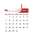 simple calendar 2017 year may month vector image
