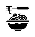 spaghetti bolognese with meatballs icon vector image