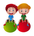 two happy boys on big balls vector image