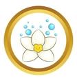 White lotus flower icon vector image