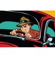 Serious retro man driving a car vector image