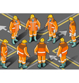 Isometric foreman in eight positions vector image
