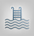 swimming pool sign  blue icon with outline vector image