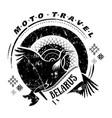 Moto travel emblem bird stork wheel national vector image