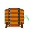 Wooden barrel of beer with a tap icon vector image