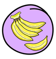 Fresh Banana Bunch on Round Purple Background vector image