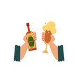 two male hands with beer bottle and cider glass vector image