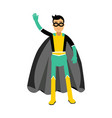 young masked man in a superhero costume waving his vector image