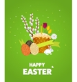 Happy Easter Eggs Grass Flowers vector image