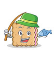fishing biscuit cartoon character style vector image