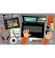 Flat design of creative office workspace vector image
