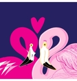pink flamingos in love vector image vector image
