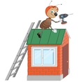Ant worker with drill repairing roof vector image