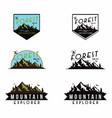mountain explorer adventure black and white badge vector image