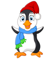 penguin waving cartoon vector image