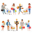 people shopping set flat cartoon characters in vector image